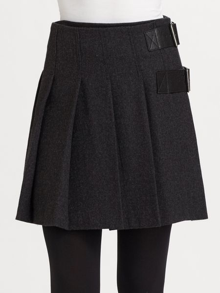 burberry brit pleated wool skirt in gray charcoal lyst