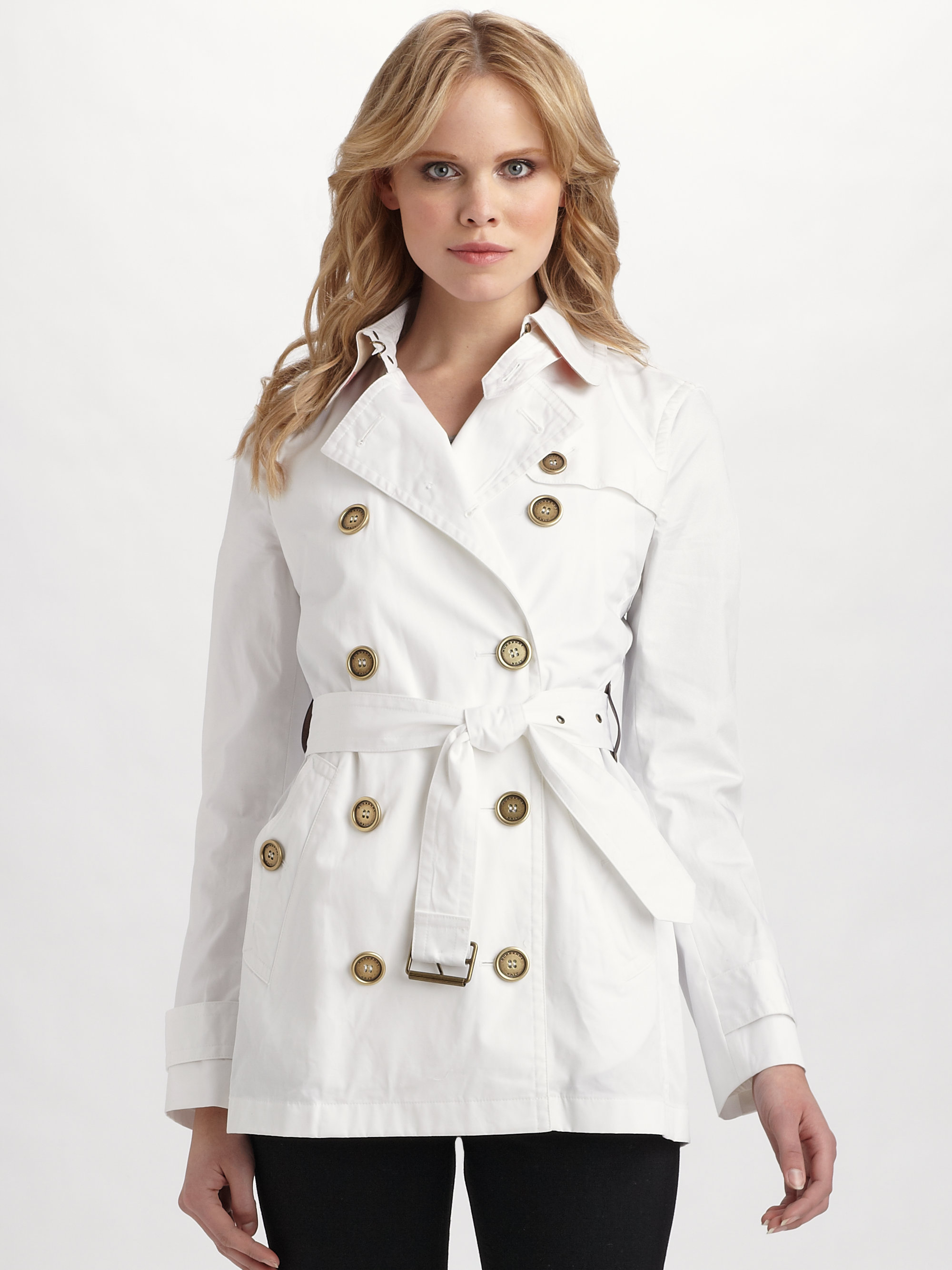 burberry brit doublebreasted trenchcoat in white lyst. Black Bedroom Furniture Sets. Home Design Ideas