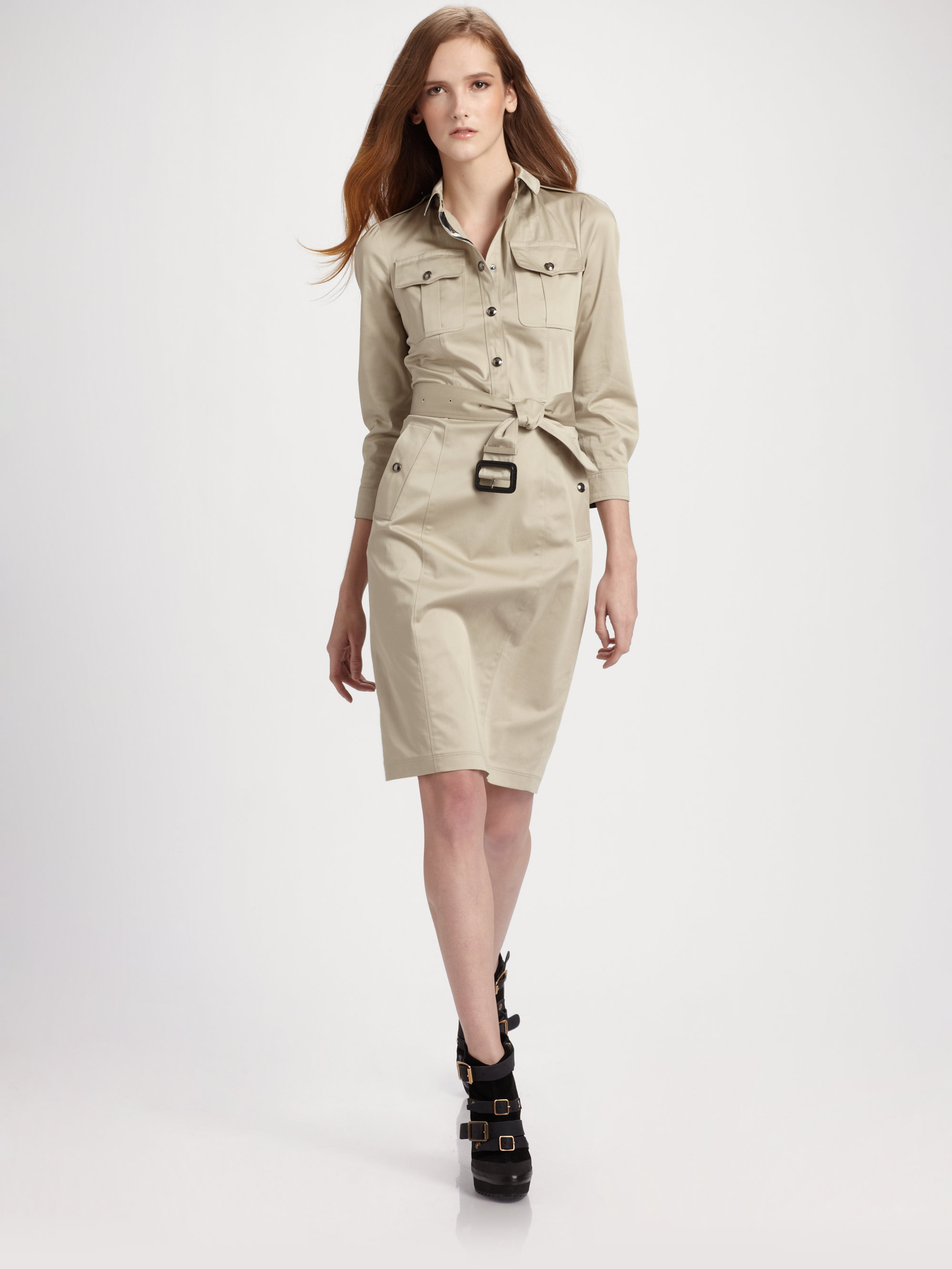 Burberry Caramia Belted Trench Dress in White (dark trench ...
