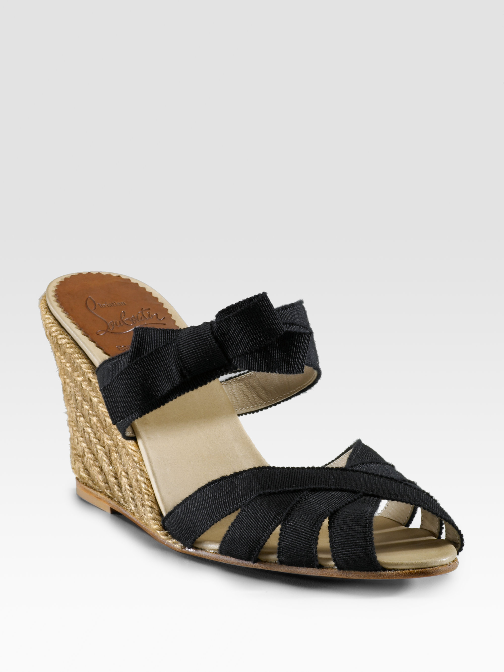 knock of shoes - christian louboutin satin espadrille wedges Black round toes | The ...