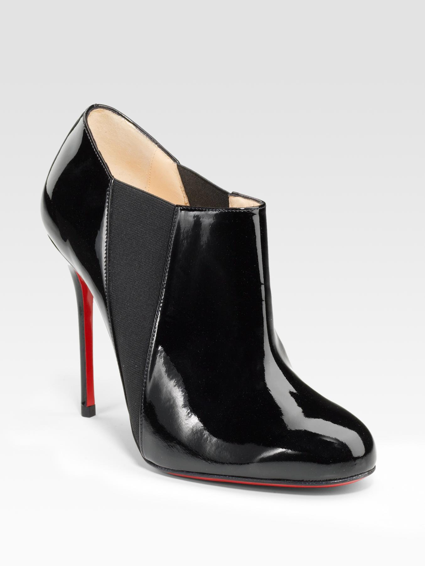b15854fb4198 ... store lyst christian louboutin patent leather ankle boots in black  70663 f8f14