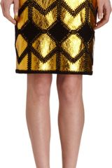 Derek Lam Metallic Gold Skirt - Lyst