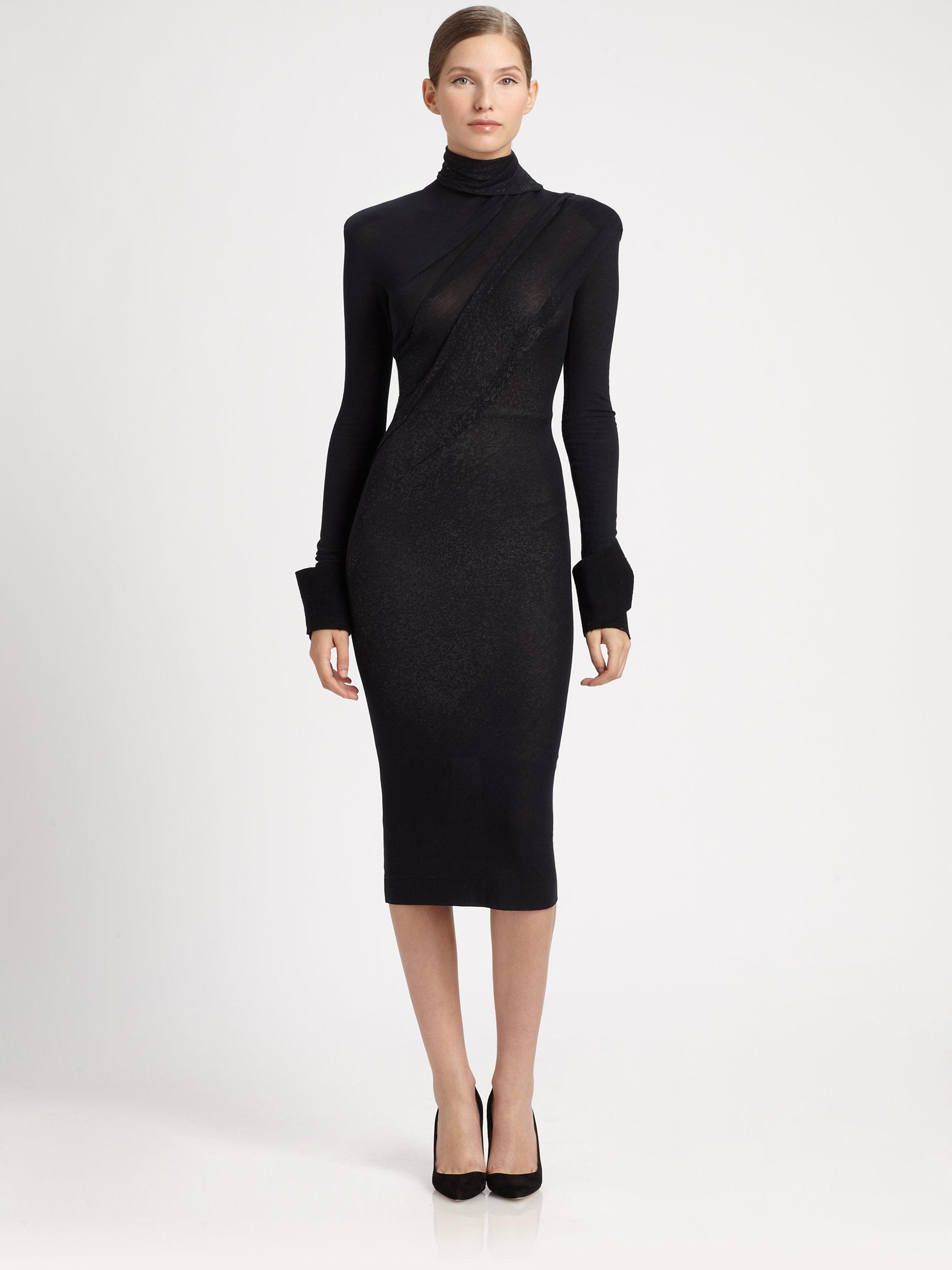 Donna karan new york devore dress in black dark navy lyst for Donna karan new york