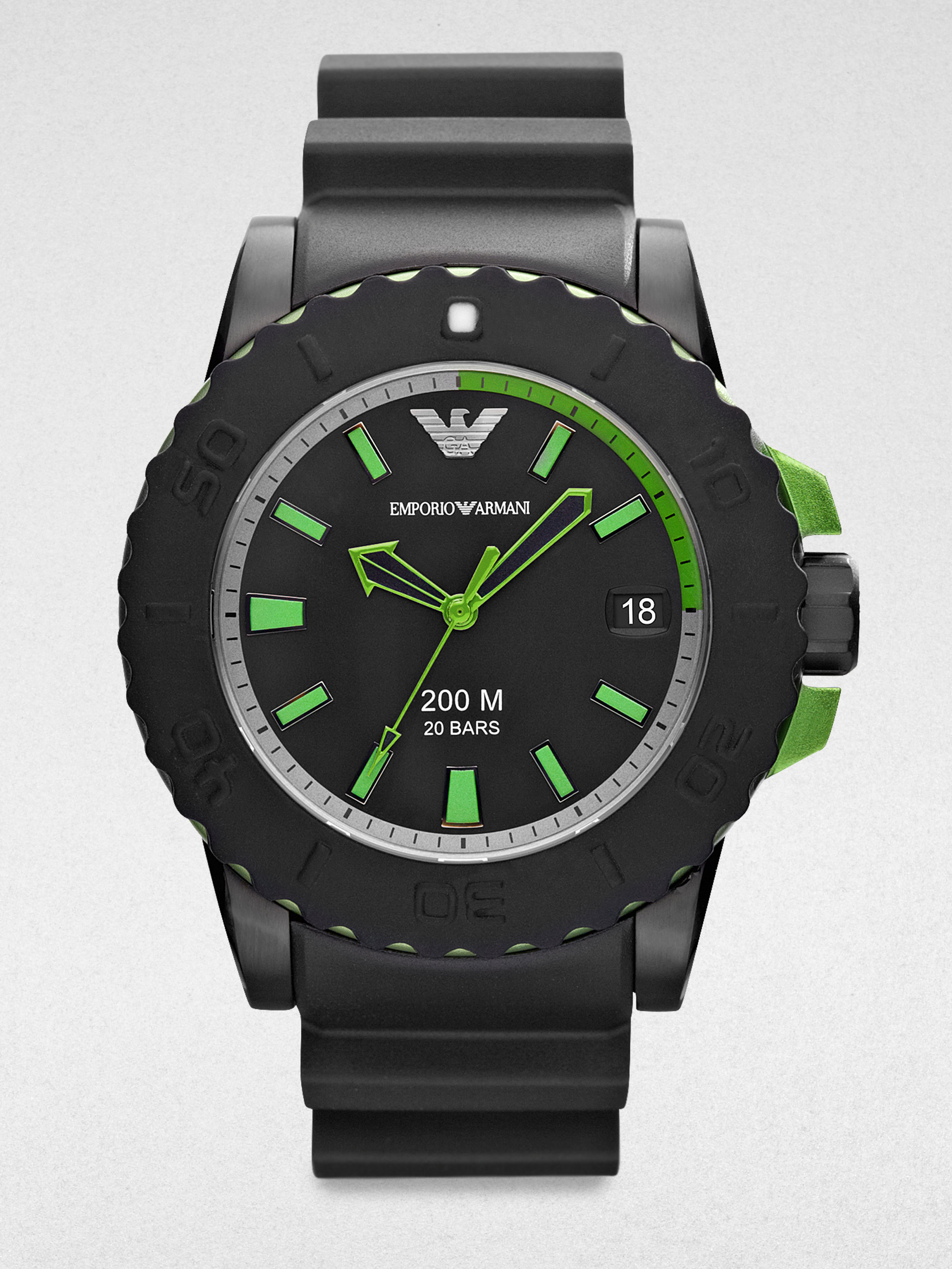 emporio armani stainless steel chronograph watch in green. Black Bedroom Furniture Sets. Home Design Ideas