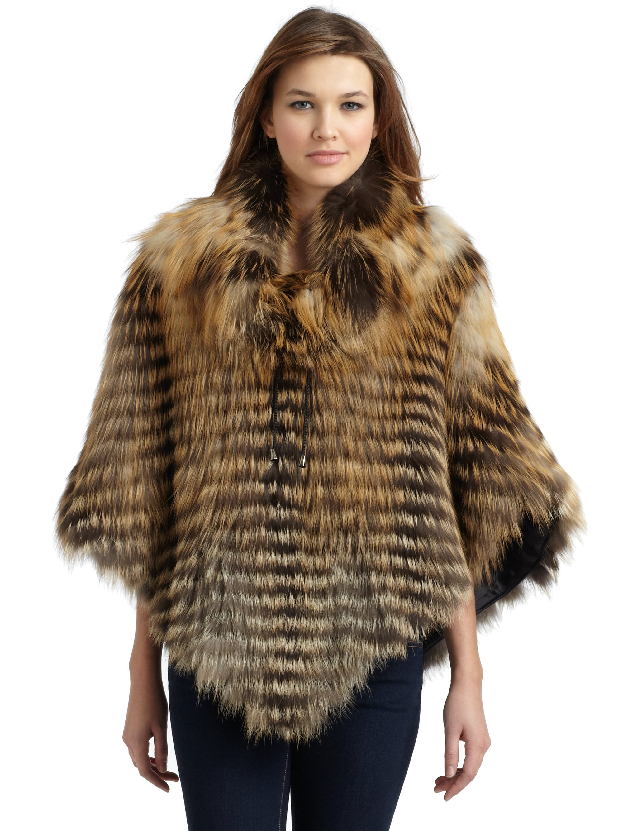 Gorski Cross Fox Fur Poncho in Brown | Lyst
