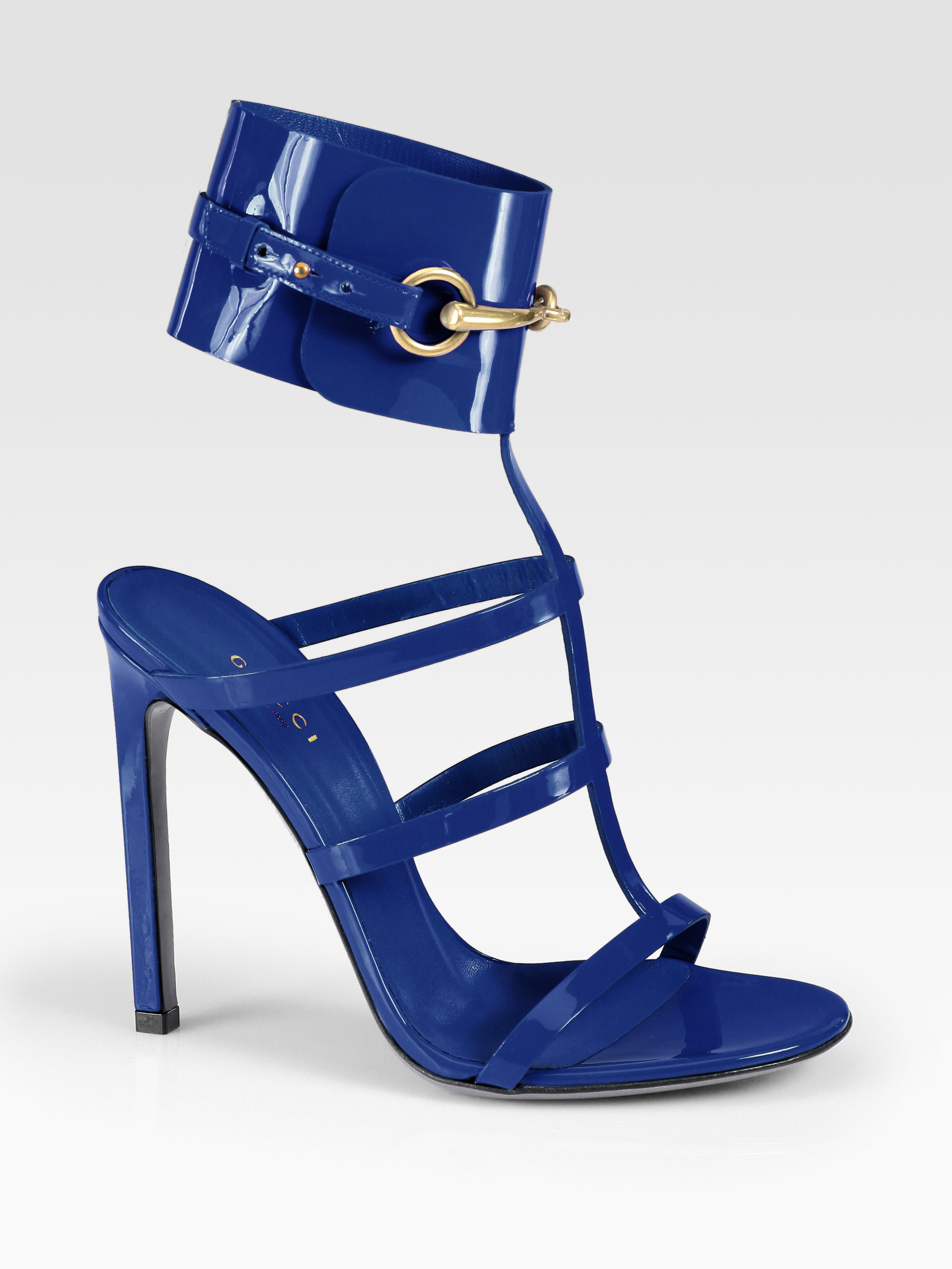 d6b8c04fed47 Lyst - Gucci Ursula Patent Leather Horsebit Ankle Strap Sandals in Blue