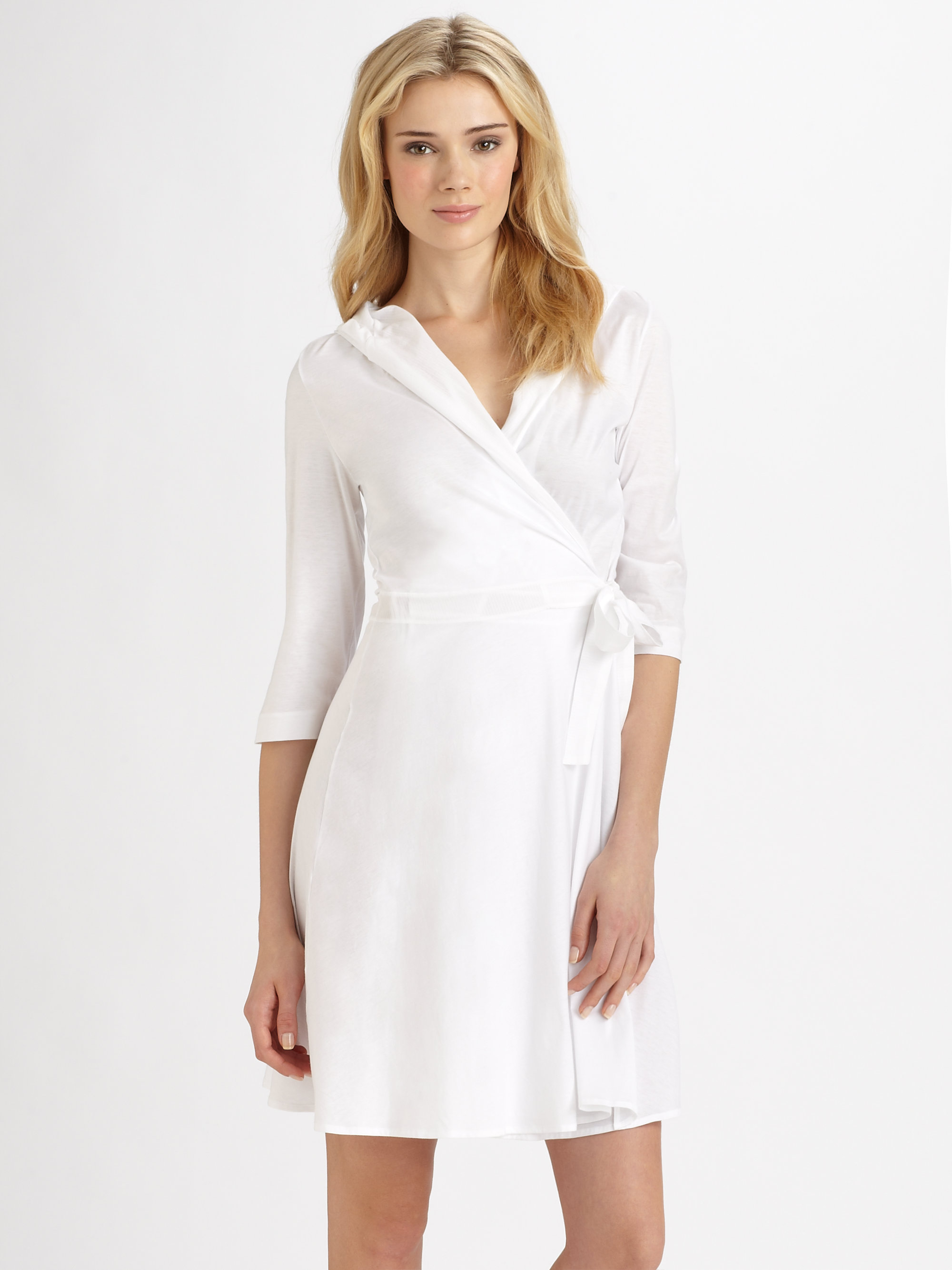 04bef40ddc Lyst - Hanro Barbados Cotton Robe in White