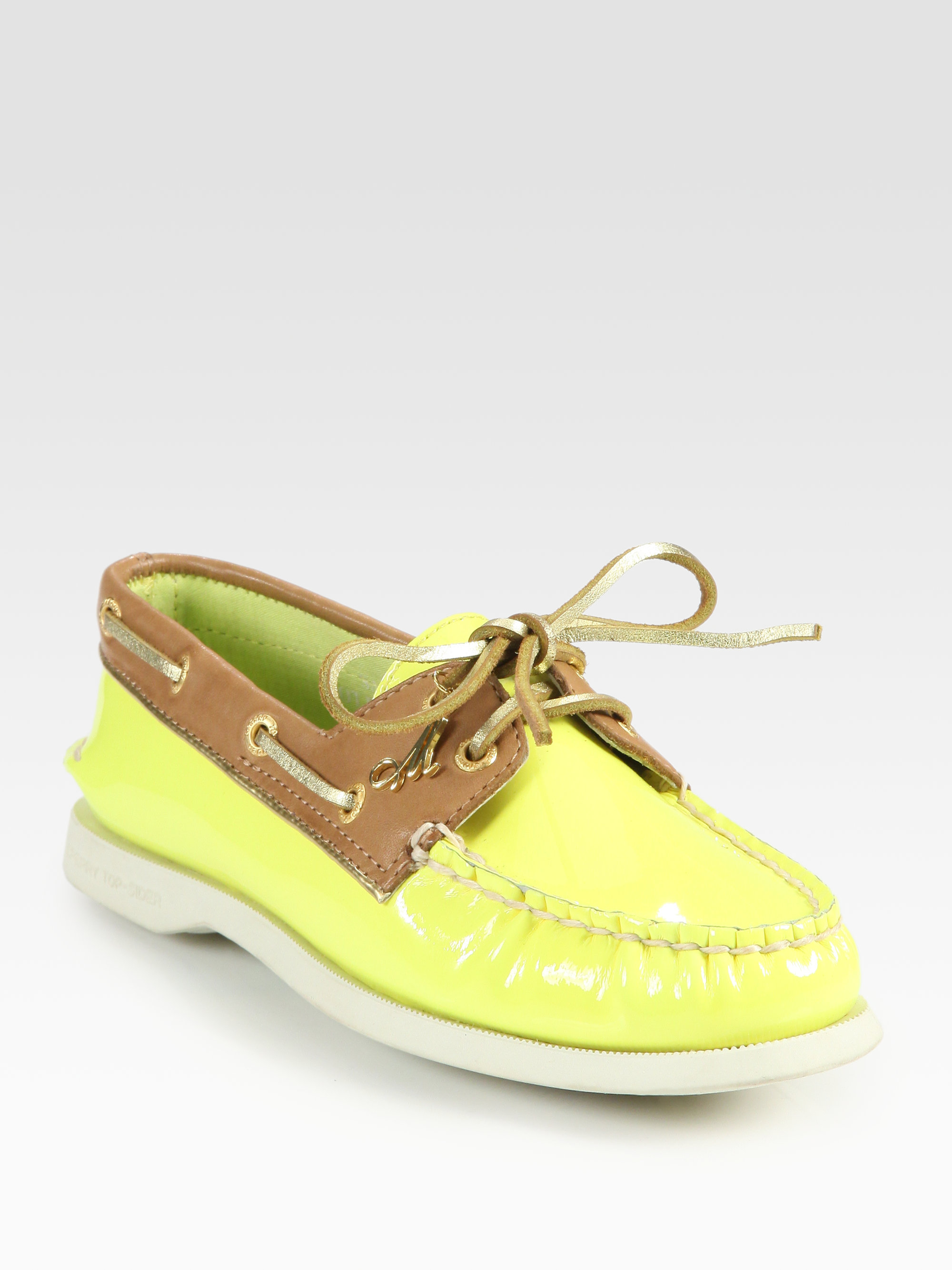 milly twotone patent leather leather boat shoes in green