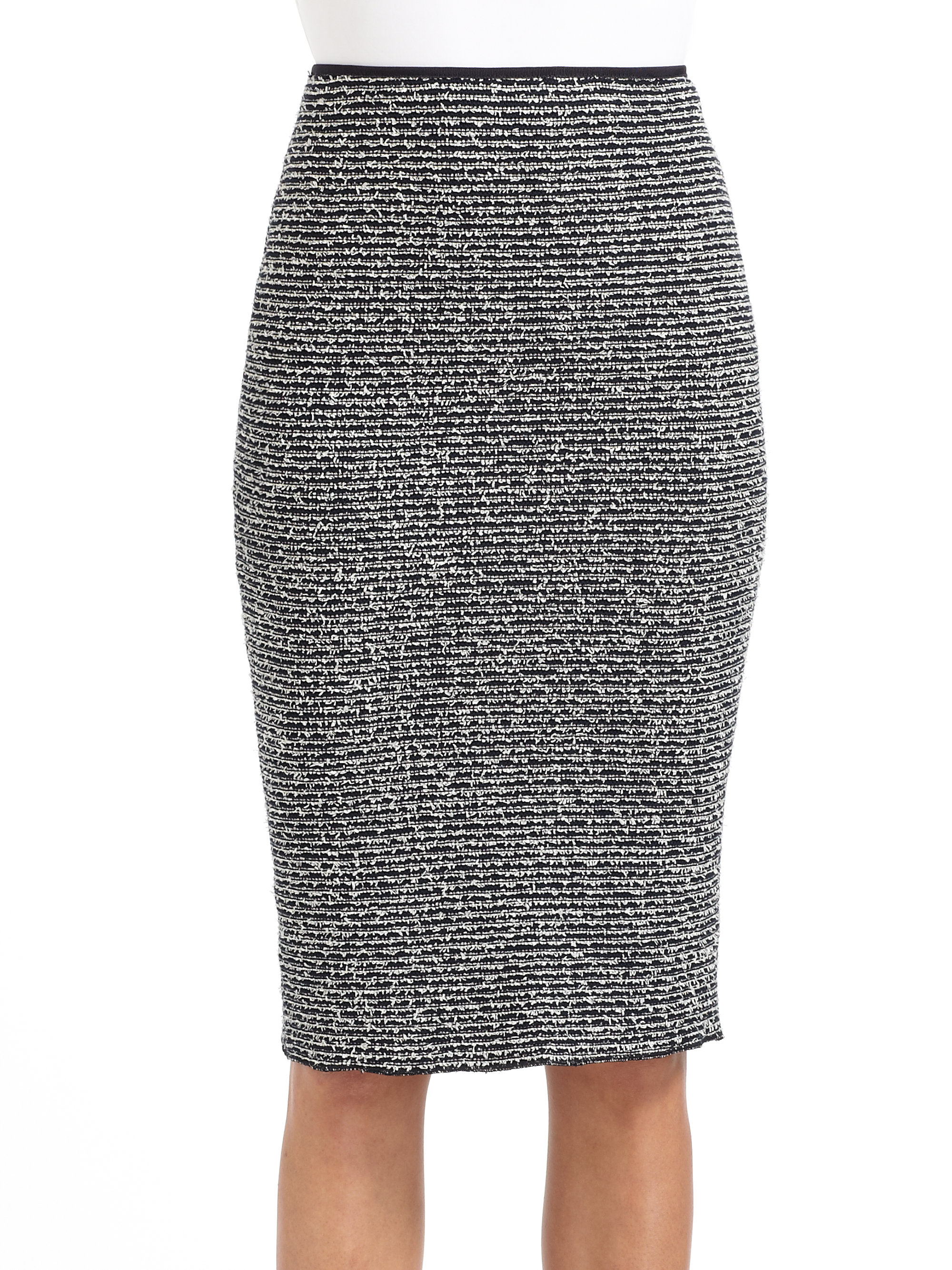 moschino frayed pencil skirt in gray navy white lyst