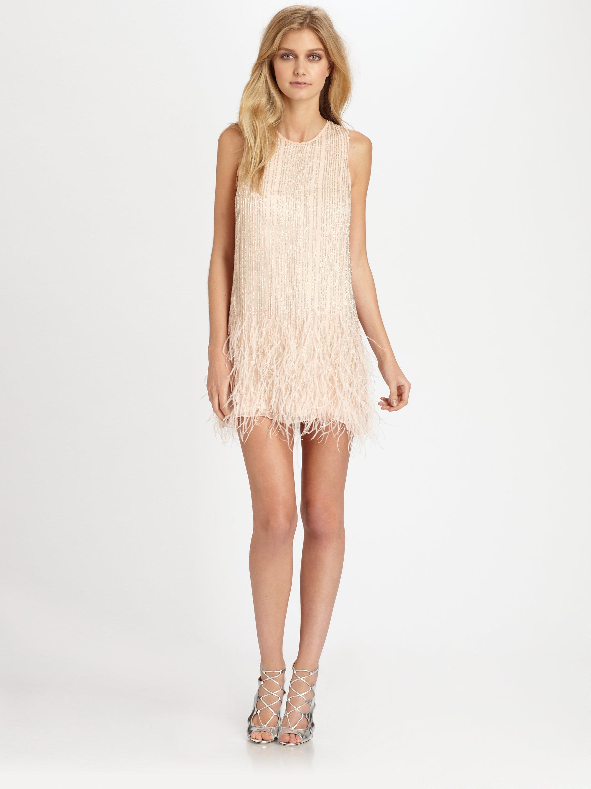 allegra beaded silk feather dress in lyst