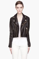 Pierre Balmain Black and Gold Ribbed Biker Jacket - Lyst