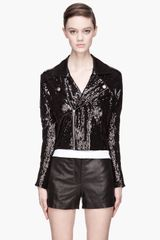 Pierre Balmain Black Sequined Cropped Biker Jacket - Lyst