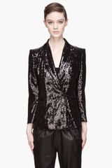 Pierre Balmain Black Sequined Double Breasted Blazer - Lyst