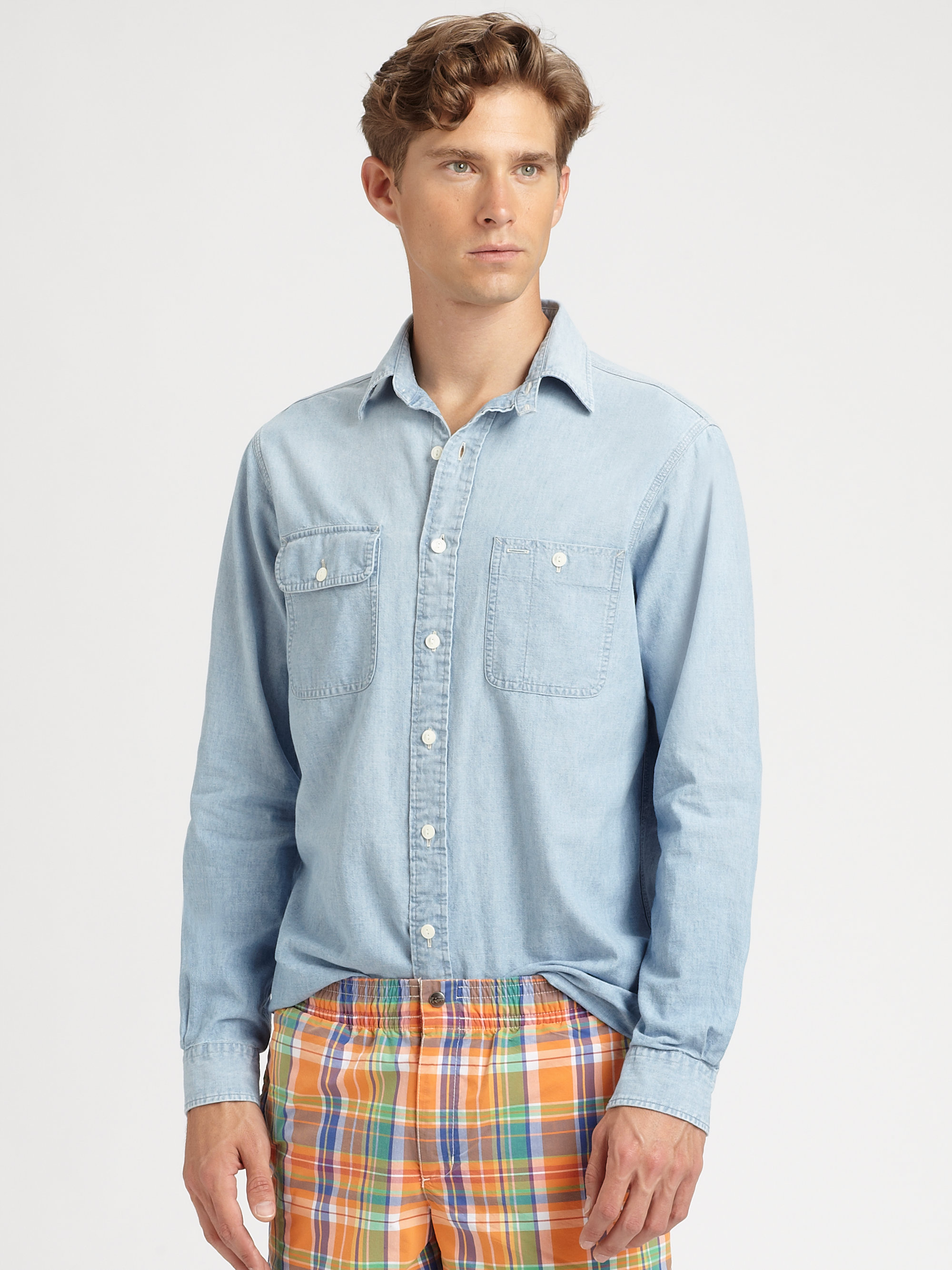 Polo Ralph Lauren Customfit Denim Chambray Shirt In Blue