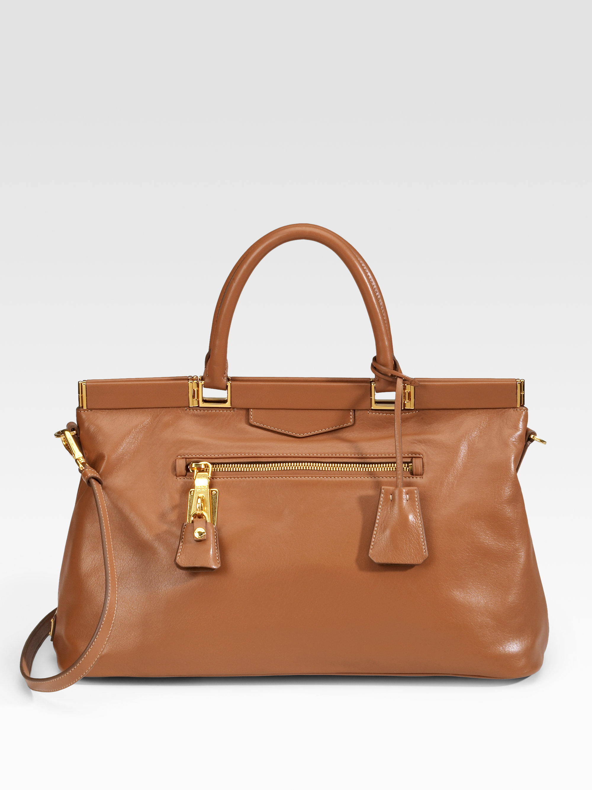Prada Soft Calfskin Leather Satchel in Brown | Lyst