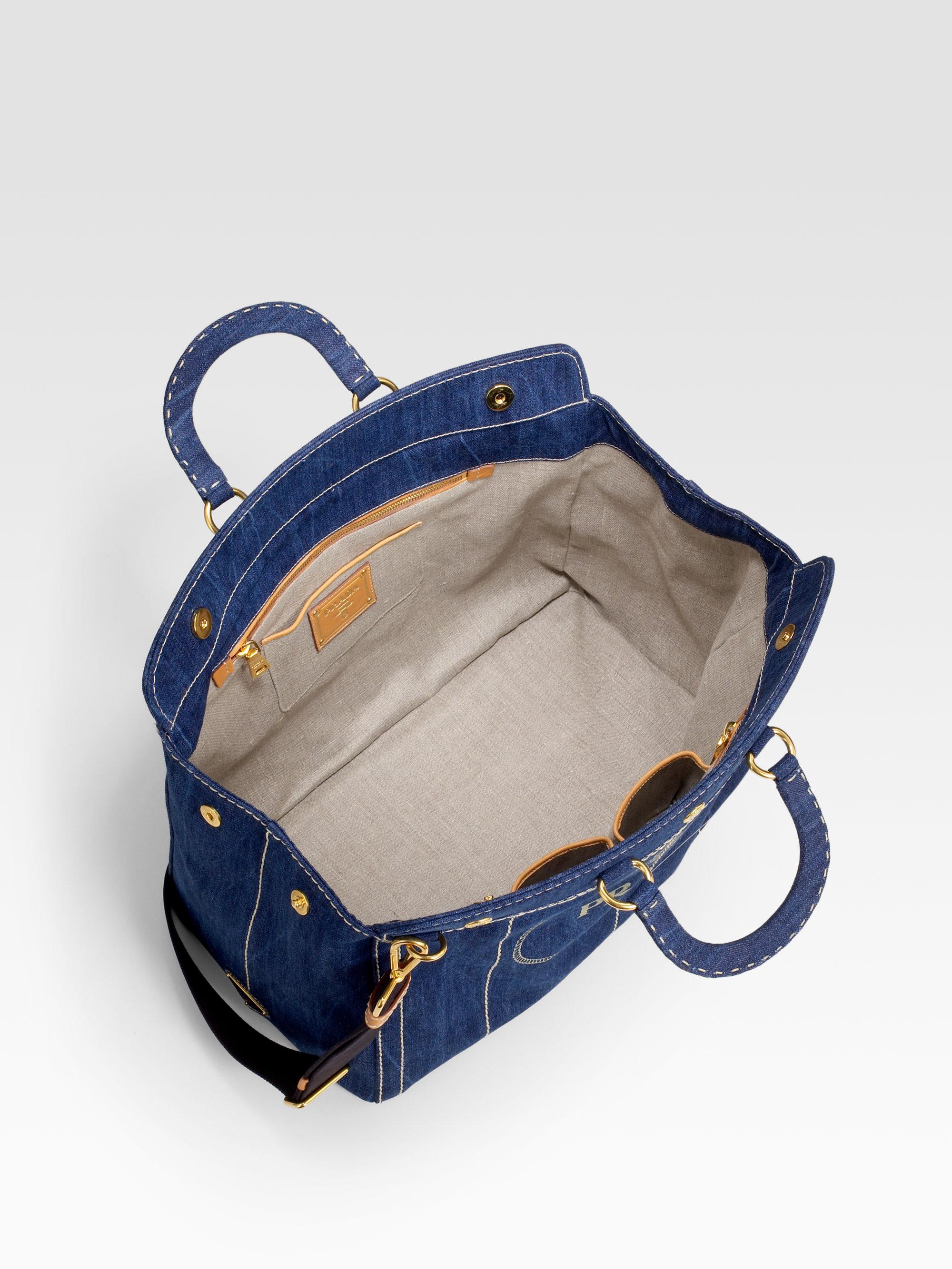 prada black leather tote bag - Prada Logo Denim Top Handle Bag in Blue (denim) | Lyst