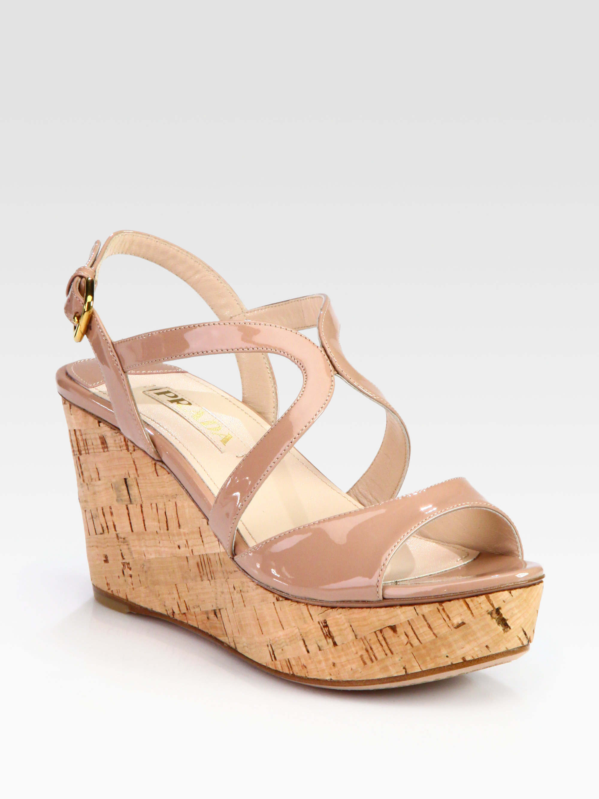 Prada Patent Leather and Cork Wedge Sandals in Beige (nude) | Lyst