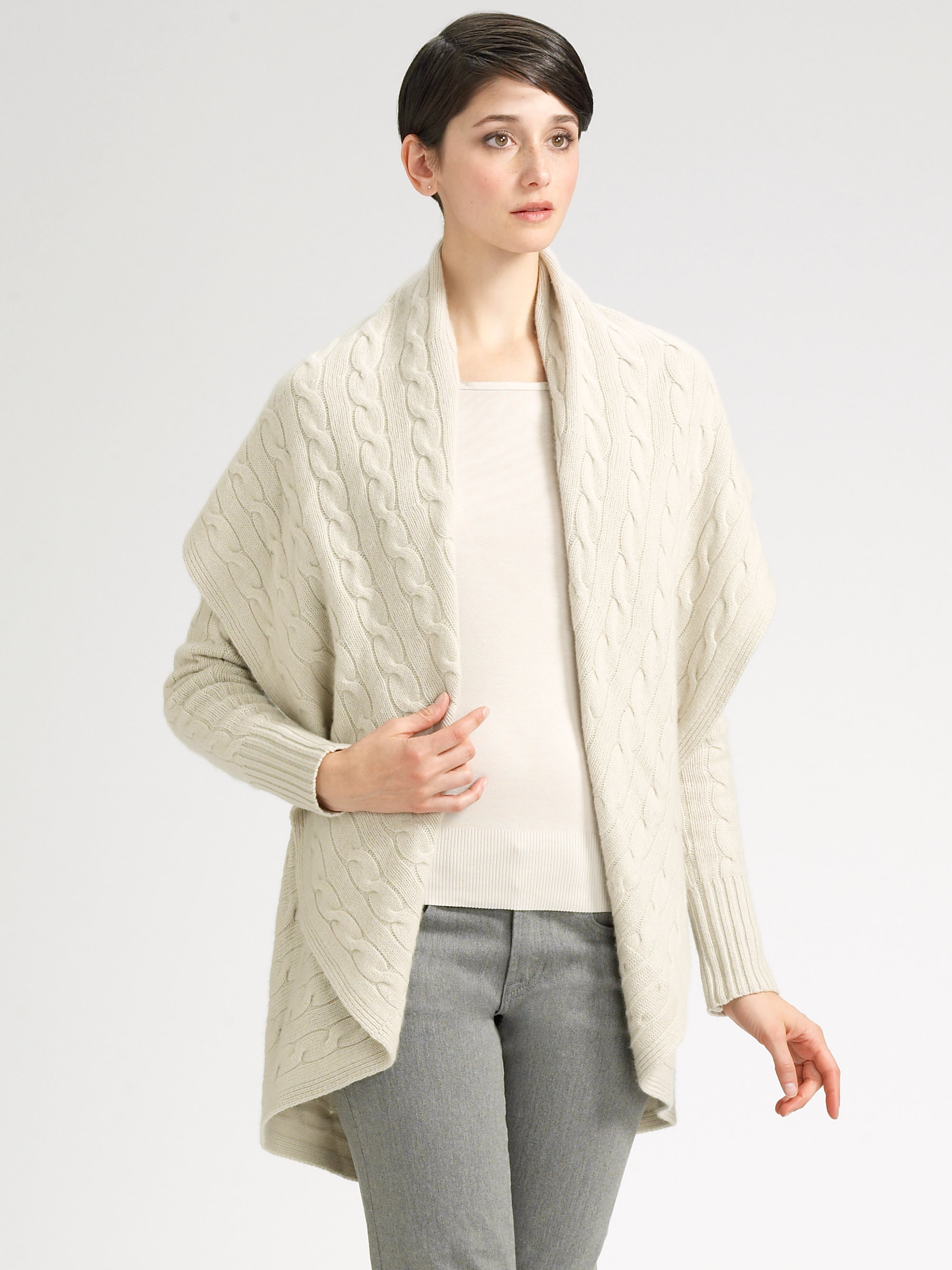 Ralph lauren black label Draped Cashmere Cardigan in White | Lyst