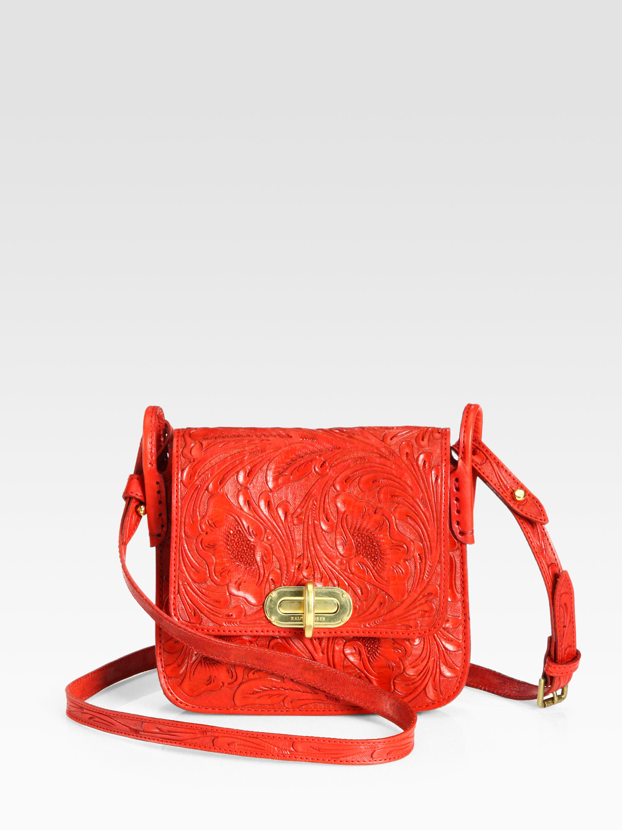Ralph Lauren Collection Floral Tooled Crossbody Bag In Red | Lyst