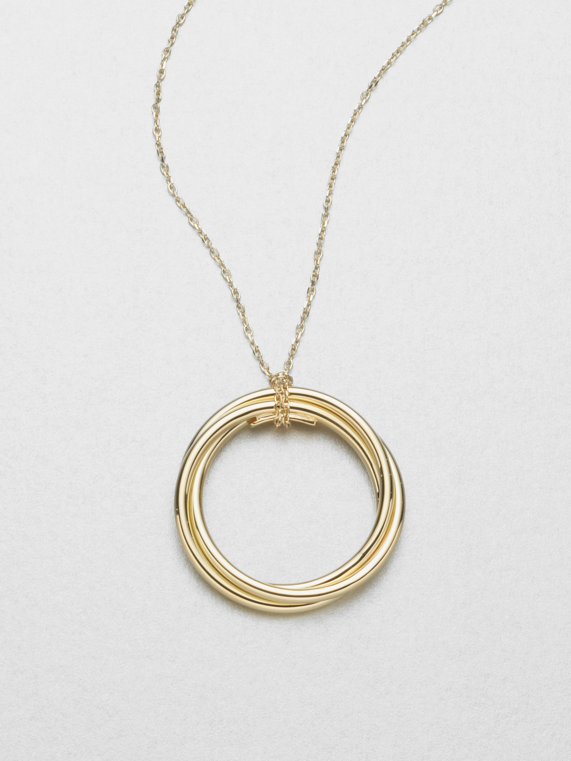 roberto coin 18k gold circle pendant necklace in gold lyst. Black Bedroom Furniture Sets. Home Design Ideas