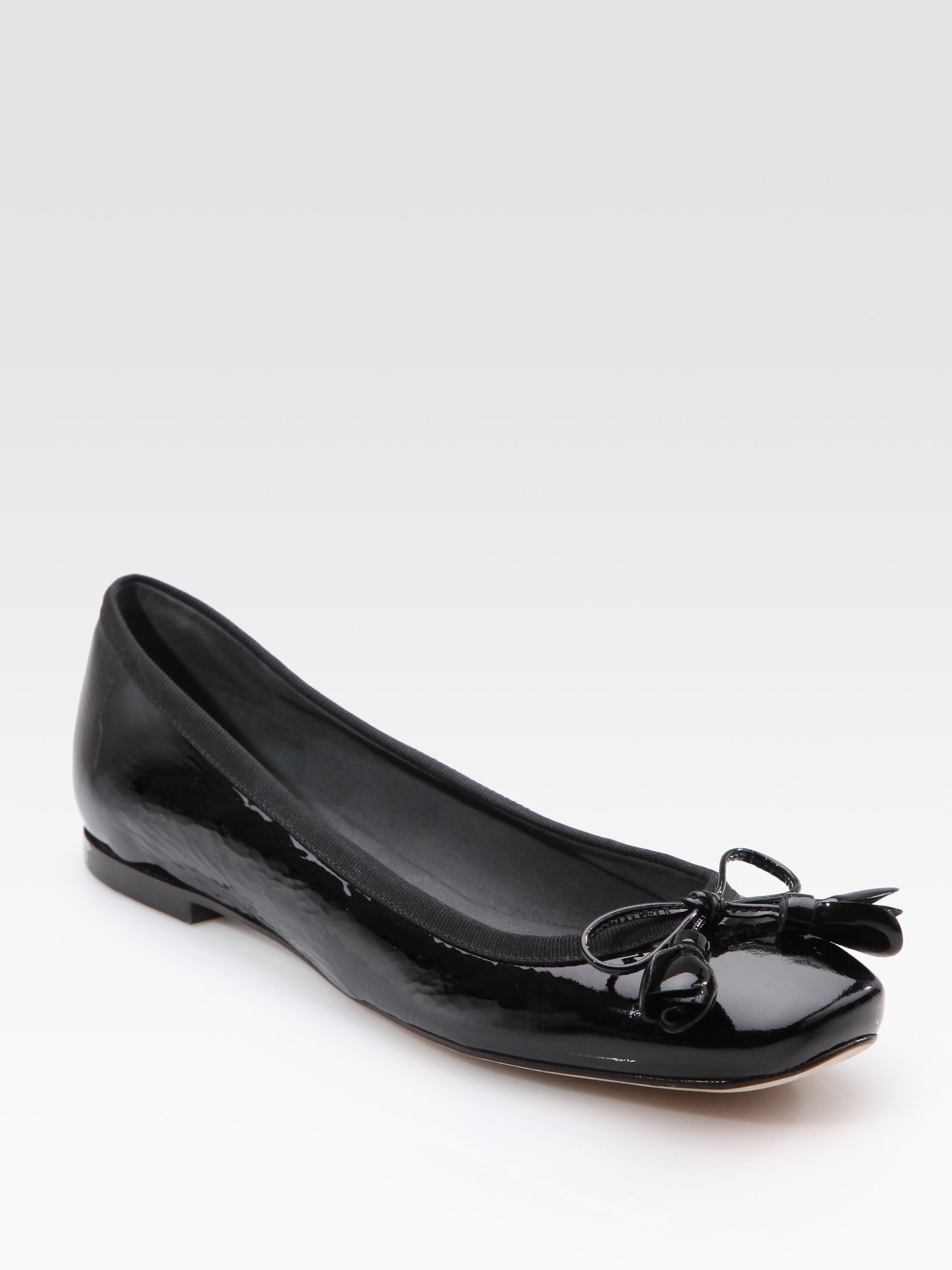4da0966c469 Lyst - Stuart Weitzman Patent Leather Bow Ballet Flats in Black