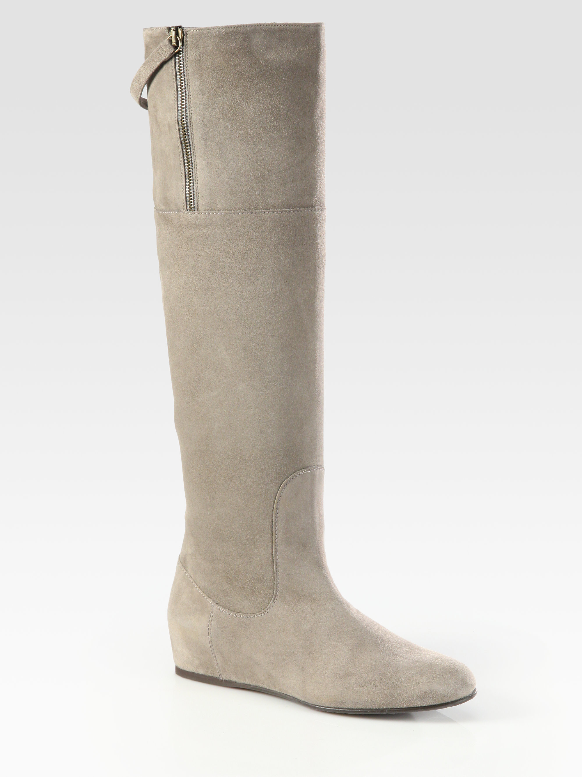 Stuart weitzman Upbeat Suede Kneehigh Flat Boots in Gray | Lyst