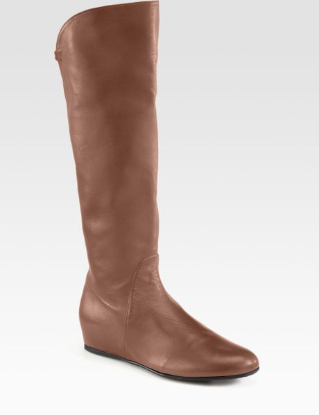 stuart weitzman leather kneehigh wedge boots in brown lyst