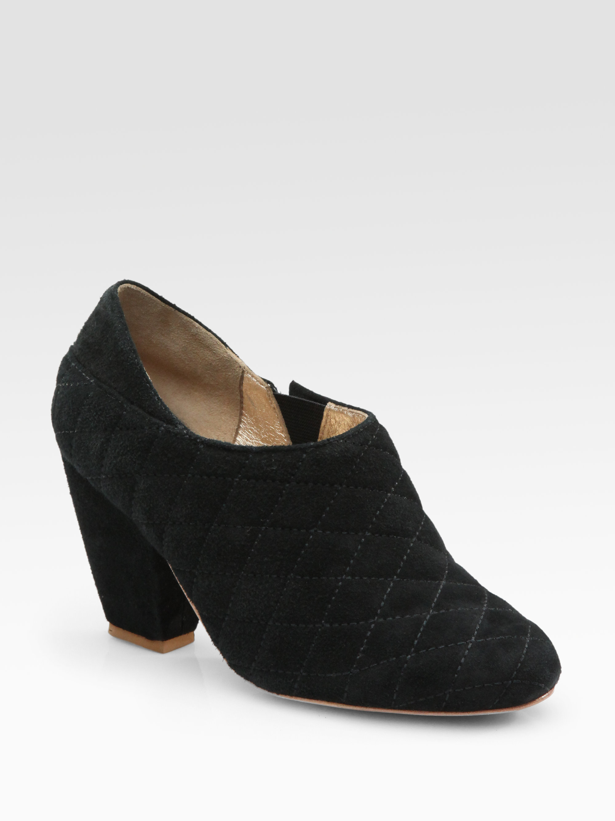 tenoversix viva quilted suede ankle boots in black lyst