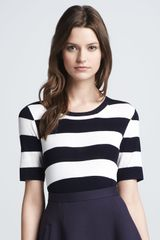 Theory Dasher Striped Ponte Top - Lyst