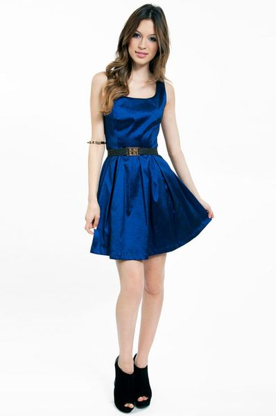 Tobi Scoop Of Shimmer Skater Dress In Blue Navy Lyst