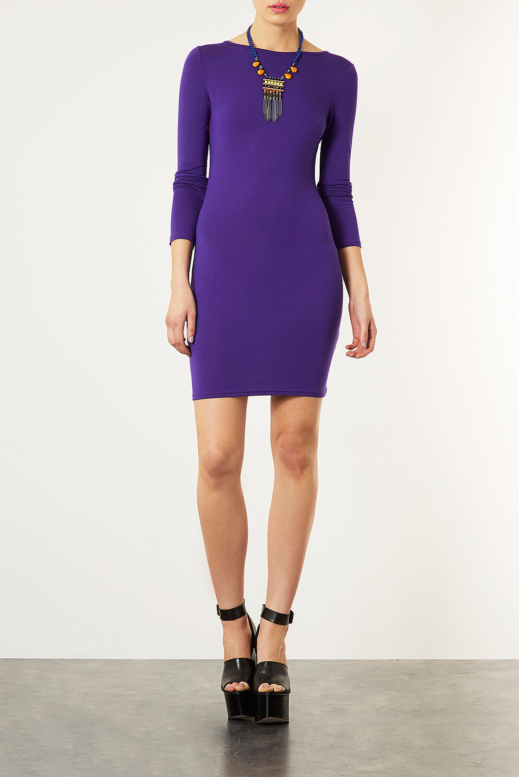 Topshop Plain Jersey Bodycon Dress In Purple Lyst