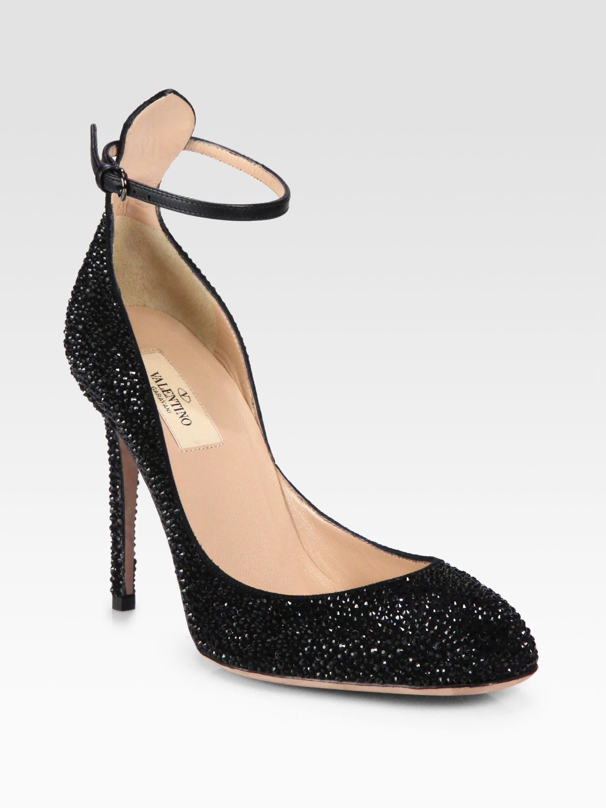a4cd949a4843 Lyst - Valentino Crystal Tango Stilettos in Black