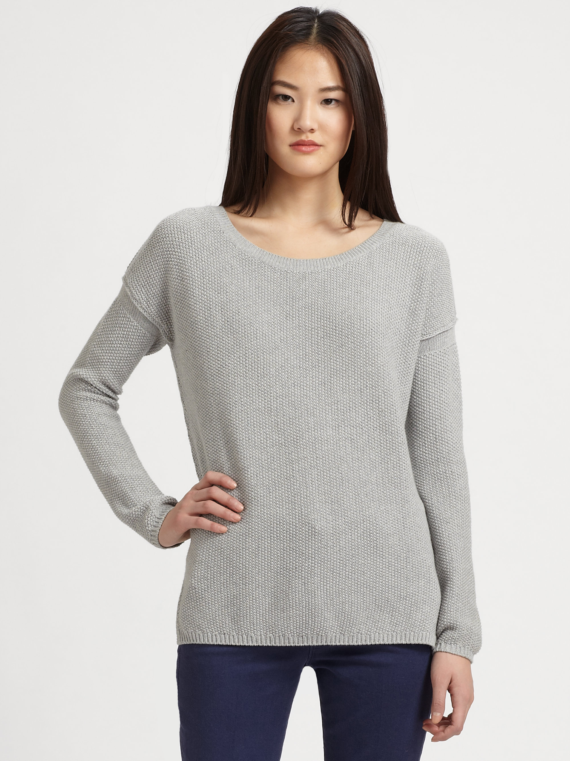Vince Cotton Cashmere Crewneck Sweater in Gray | Lyst