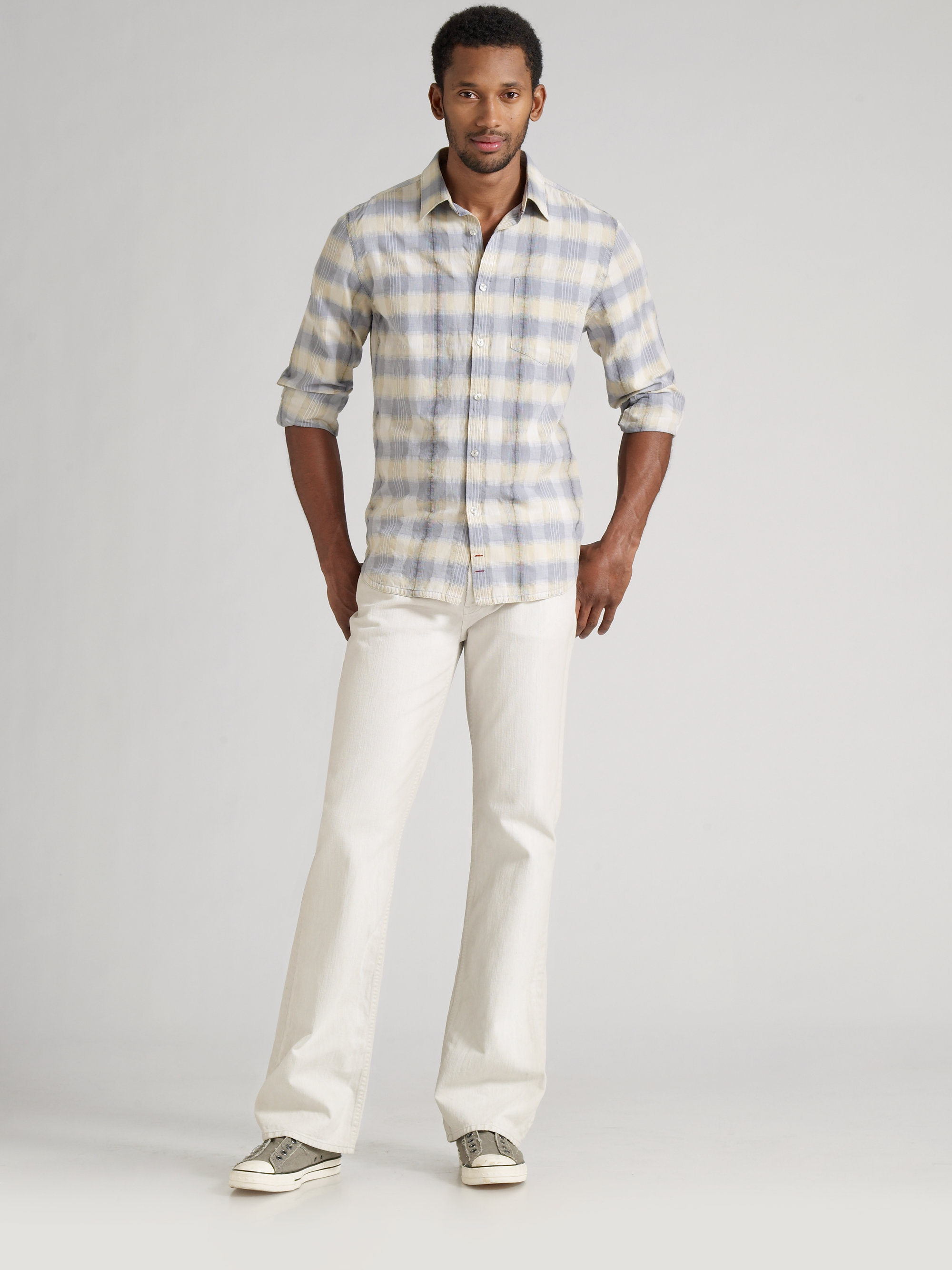 7 for all mankind Boho Bootcut Jeans in White for Men | Lyst