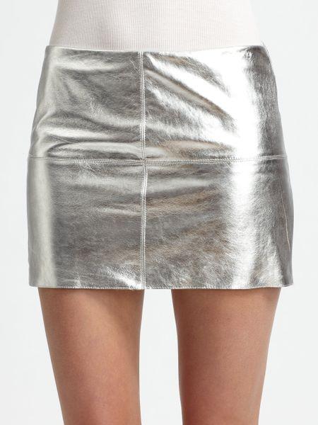 bailey 44 turtle metallic leather mini skirt in silver lyst