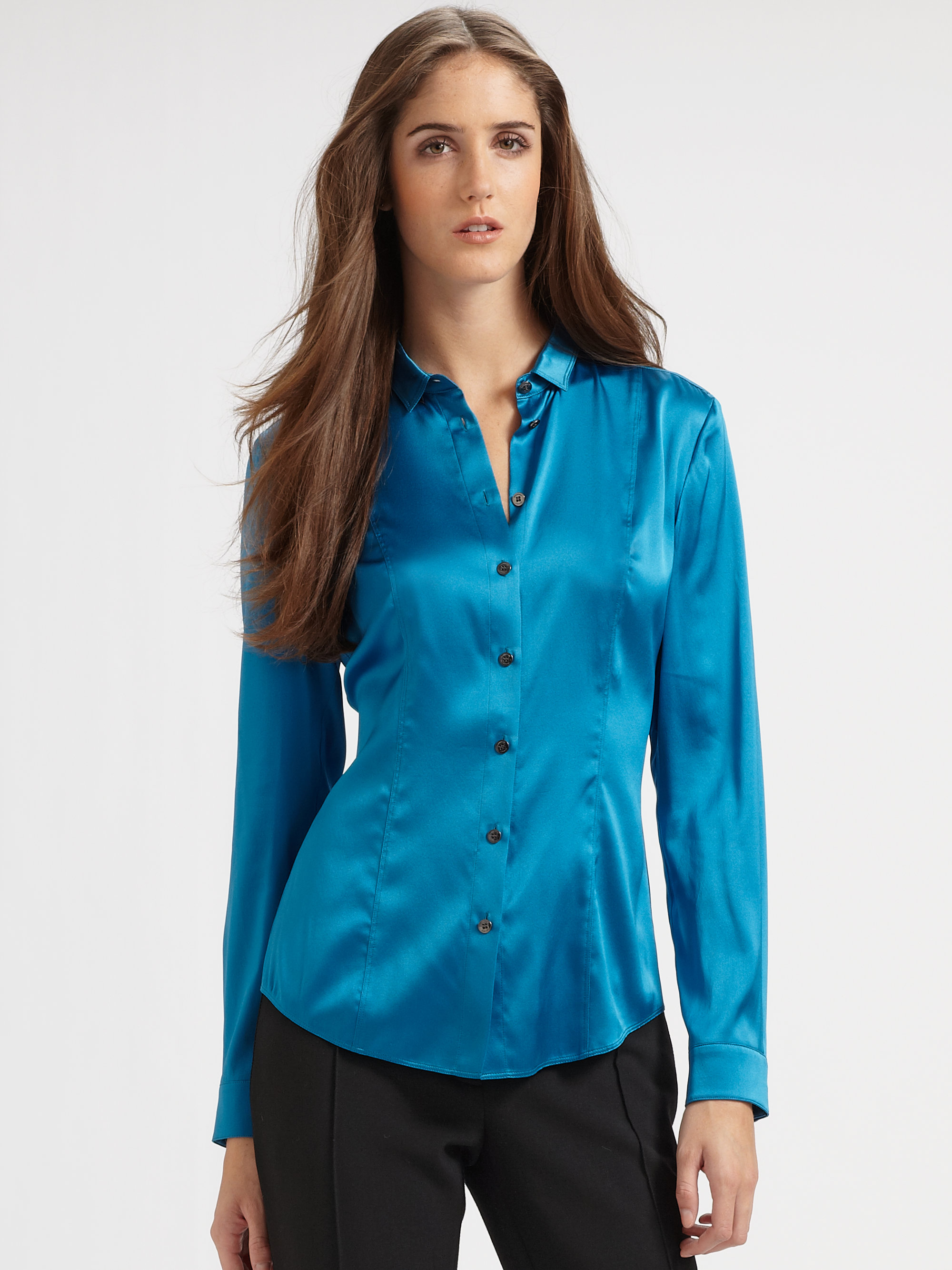 Burberry Silk Blouse in Blue | Lyst