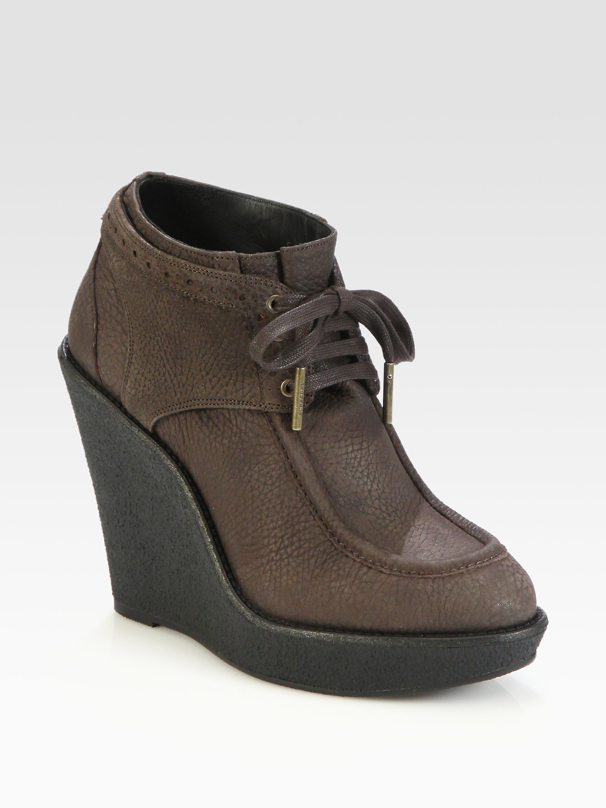 burberry blandford leather wedge ankle boots in gray