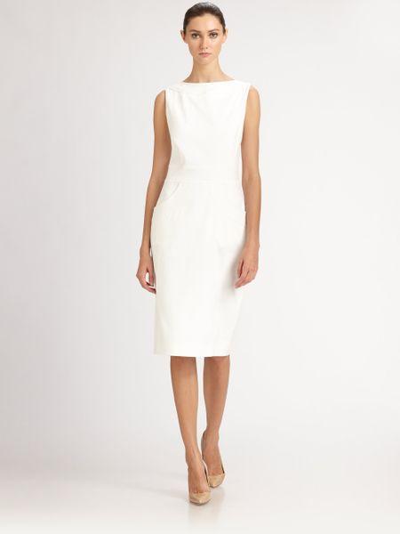 Carolina Herrera Stretch Cotton Dress In White Natural White