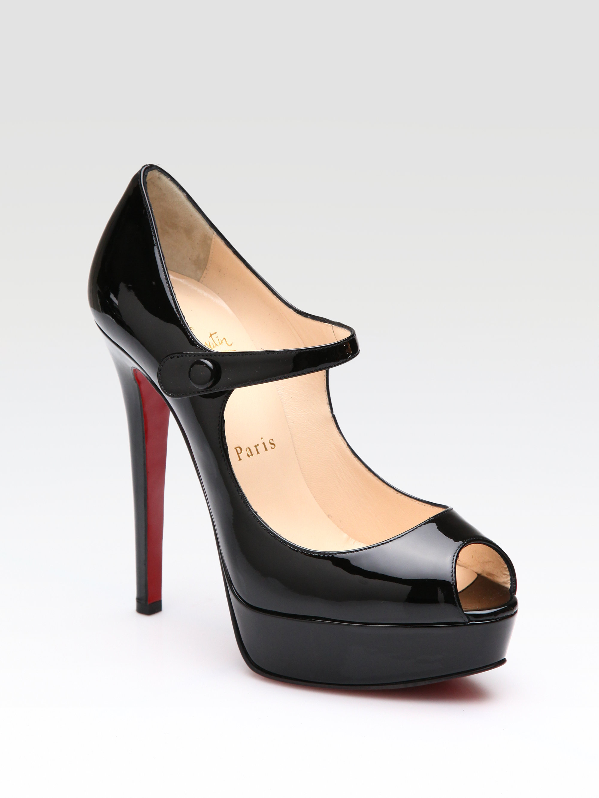 d0b26a0303c Lyst - Christian Louboutin Bana 140 Patent Mary Jane Pumps in Black
