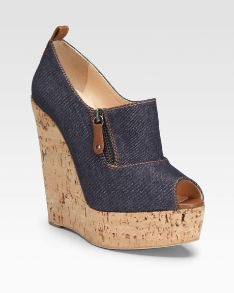christian louboutin deroba denim wedge ankle boots in blue