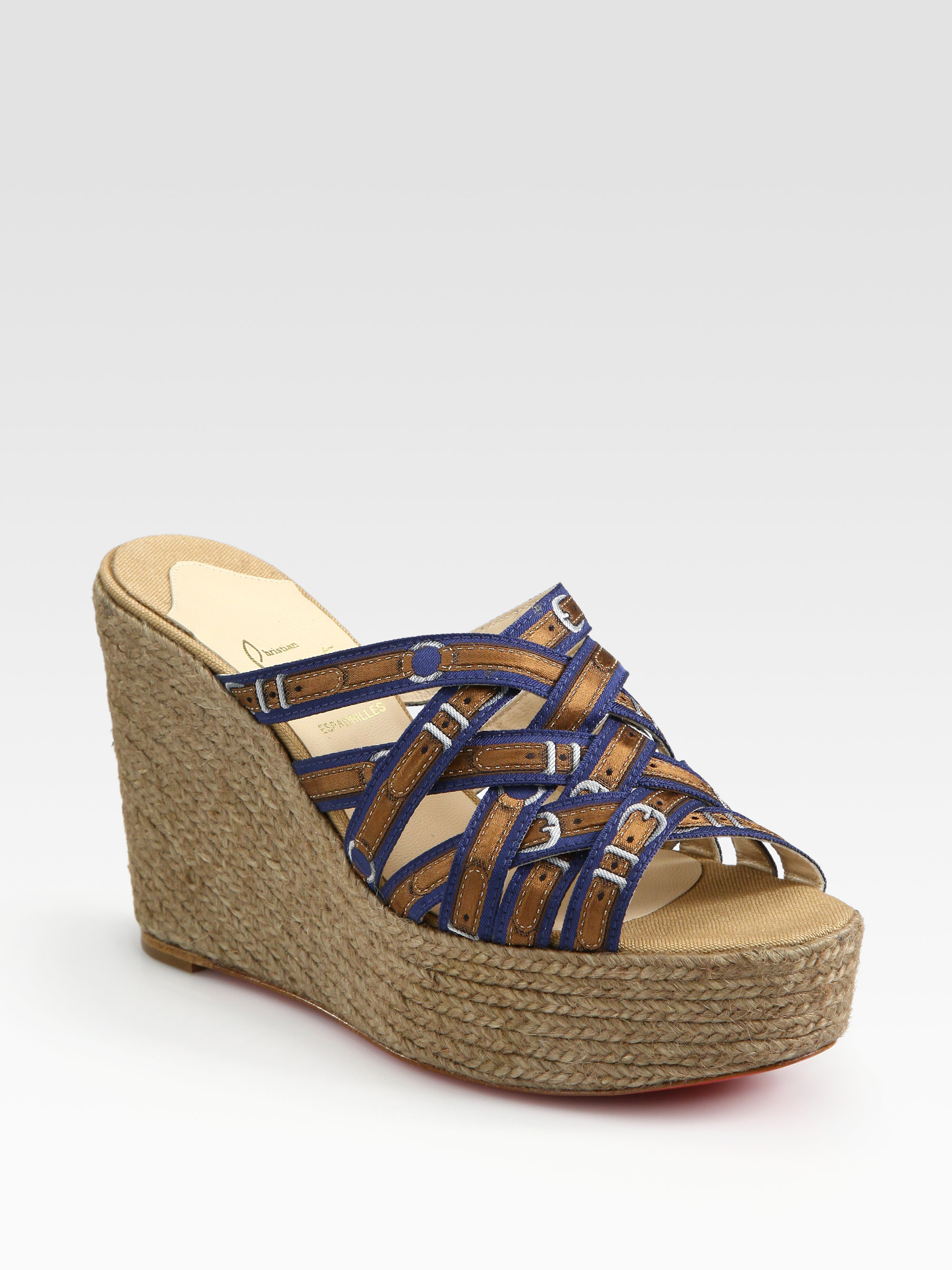 Christian louboutin Crepon Silk Espadrille Wedge Sandals in Brown ...