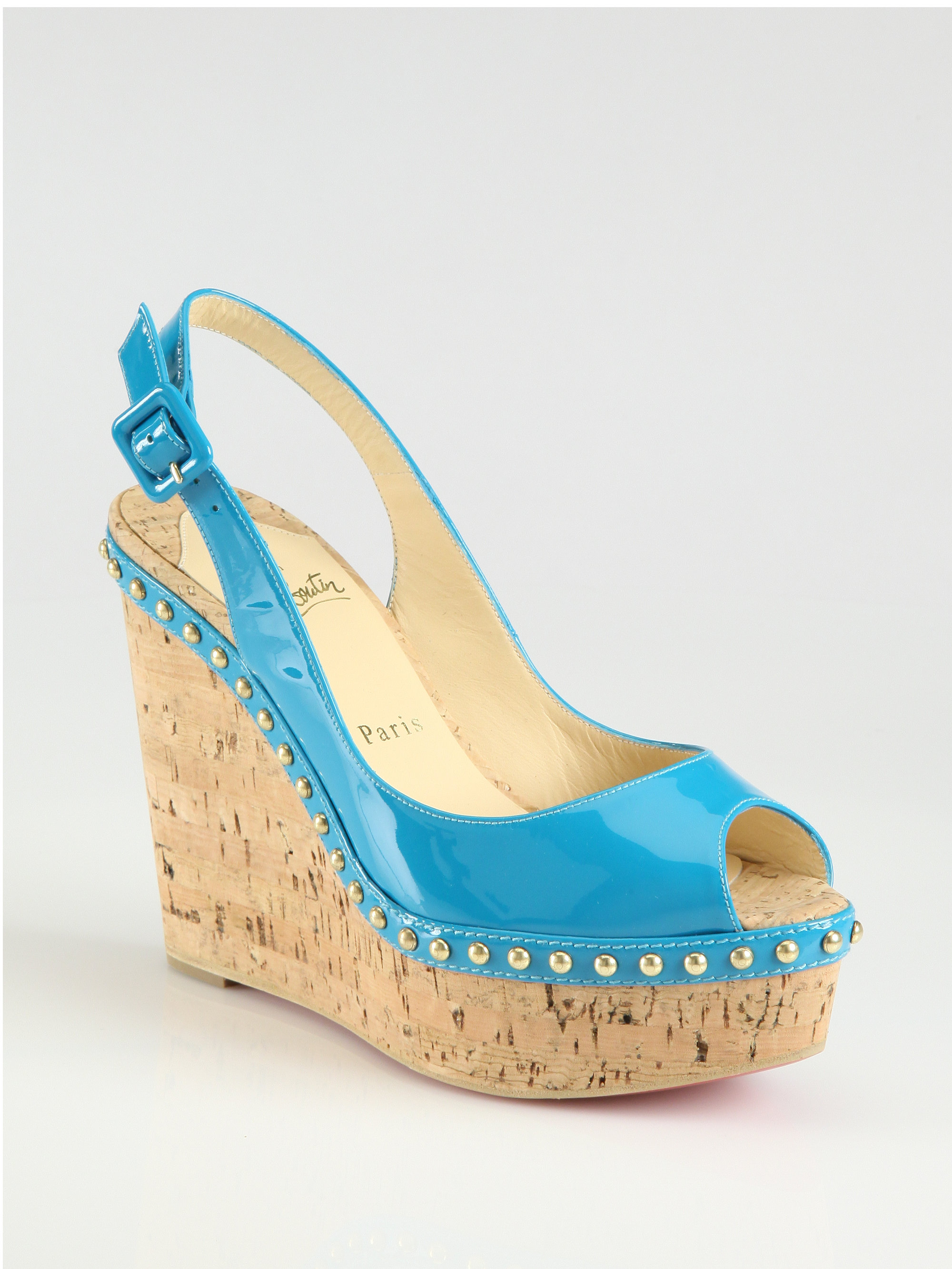 Turquoise Blue Wedge Shoes