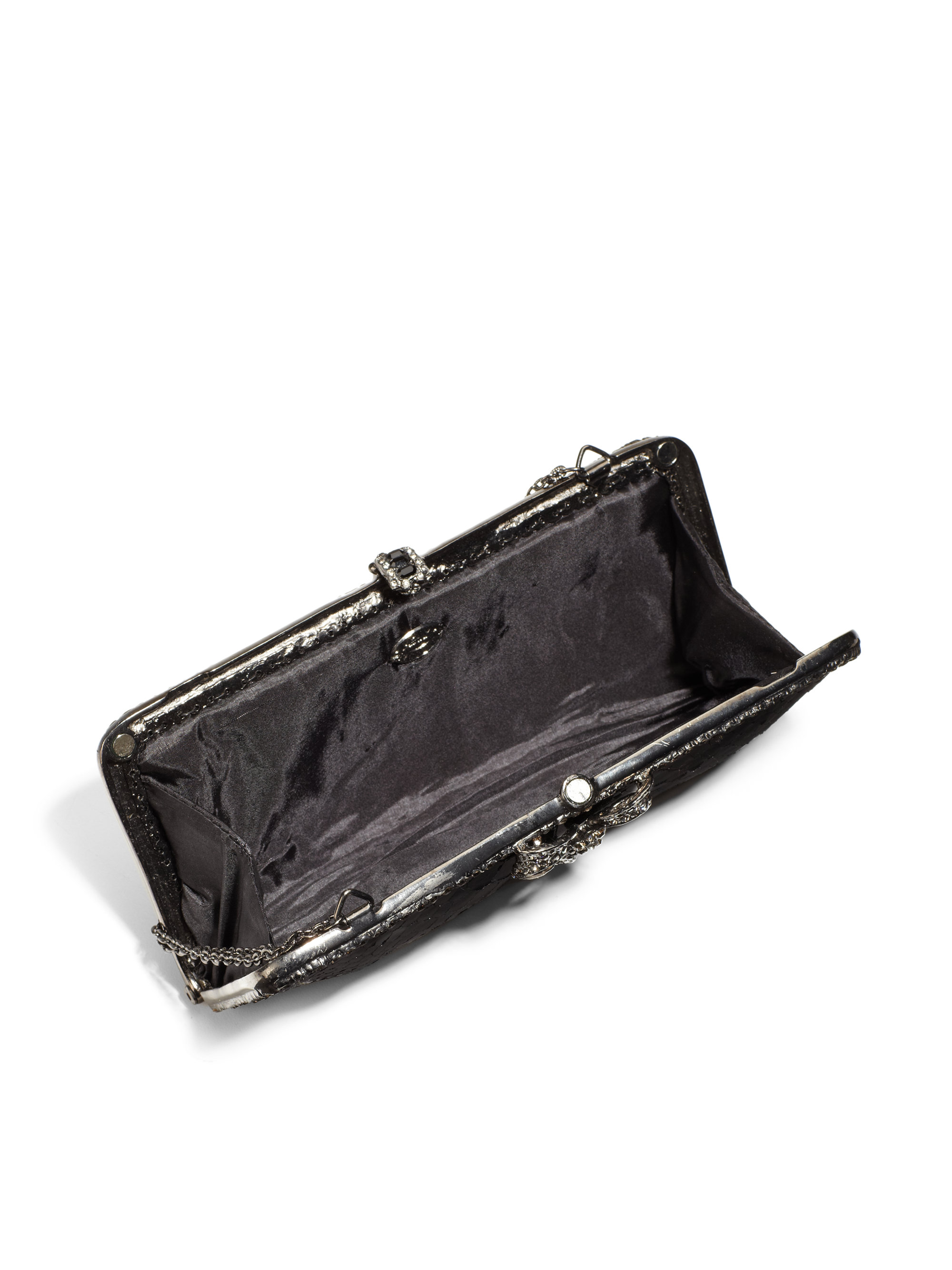 Clara kasavina Swarovski Crystal Bow Black Python Clutch in Black ...