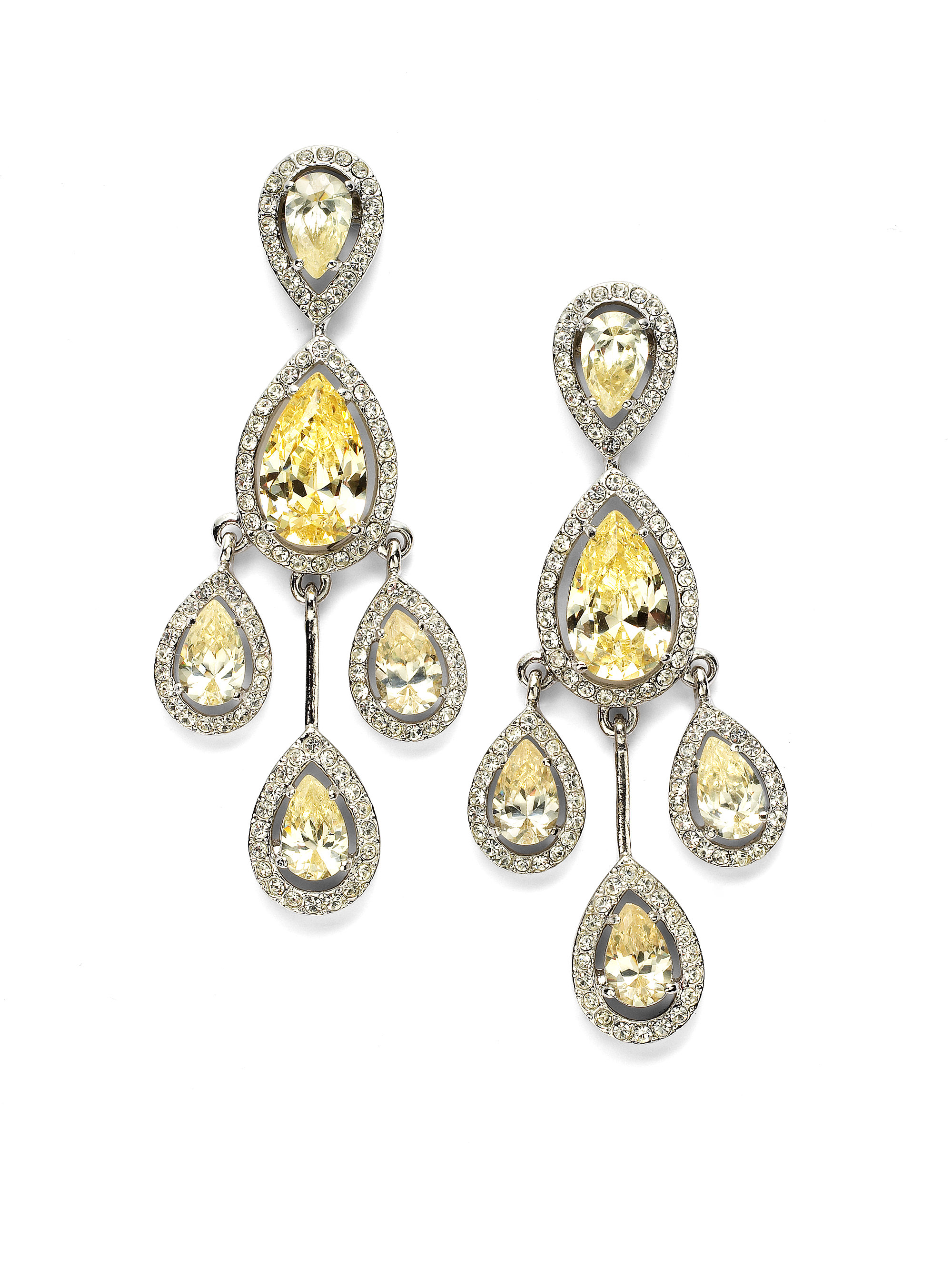 Cz by kenneth jay lane pearshaped frame chandelier earrings in gallery arubaitofo Images