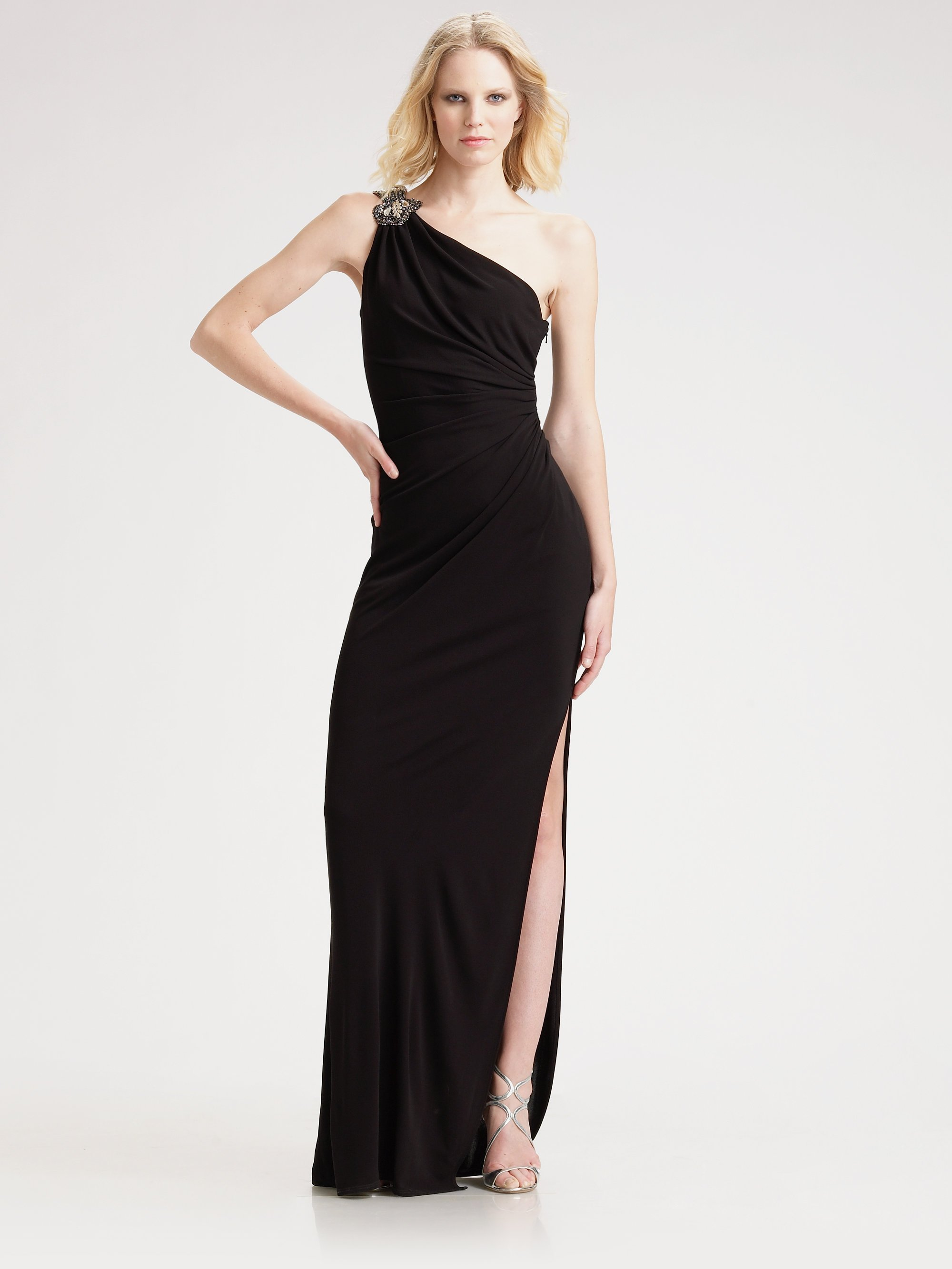 Lyst - David Meister One Shoulder Ruched Gown in Black