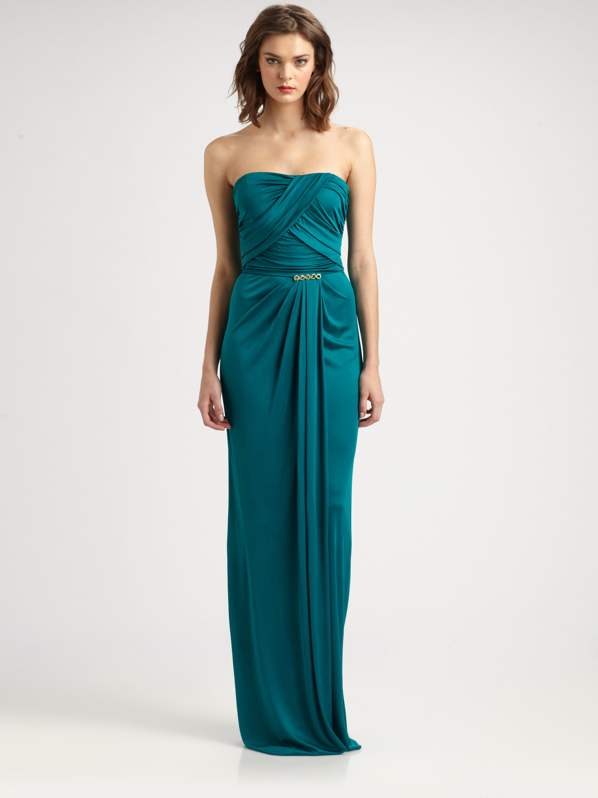 Lyst - David Meister Strapless Drape Gown in Green