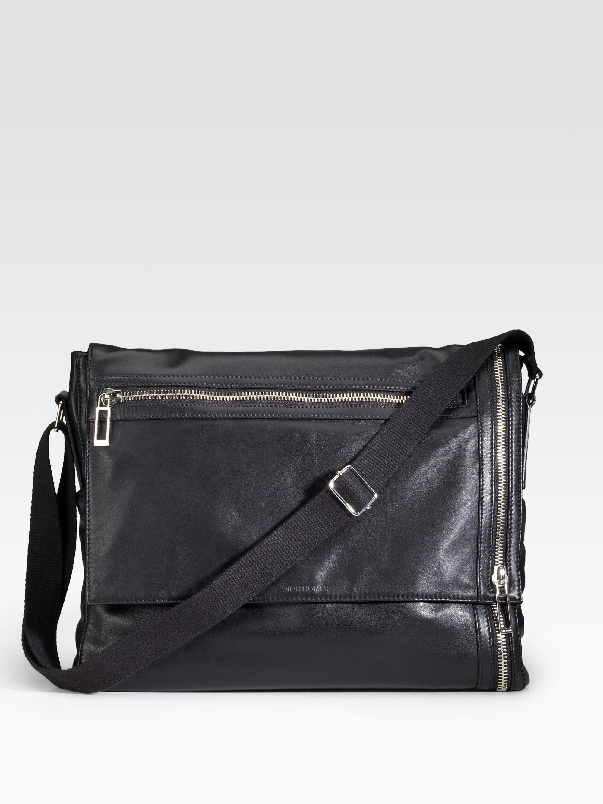 Lyst - Dior Homme Nappa Leather Messenger Bag in Black for Men 4311f96cbcf16