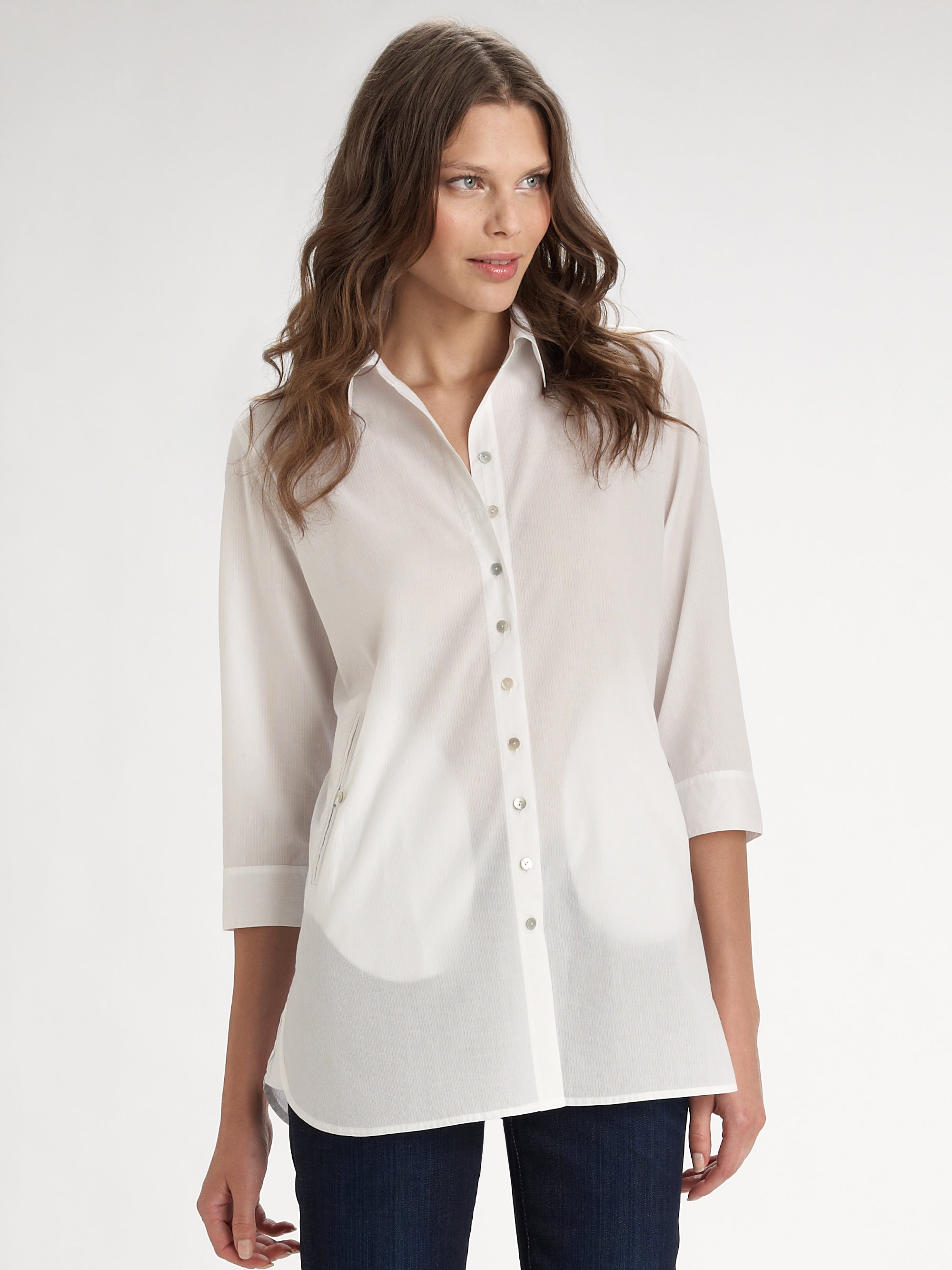 eileen fisher shadowstriped cotton shirt in white lyst