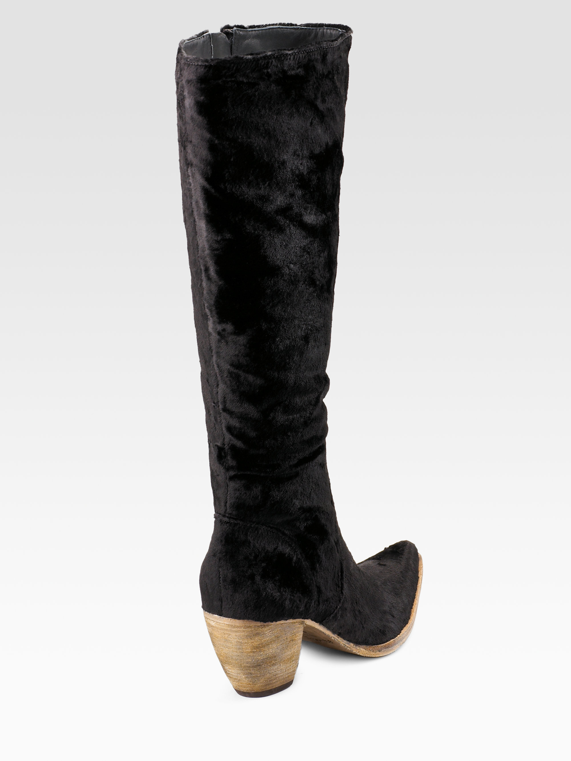 Elizabeth and james Velvet Western Tall Boots in Black | Lyst
