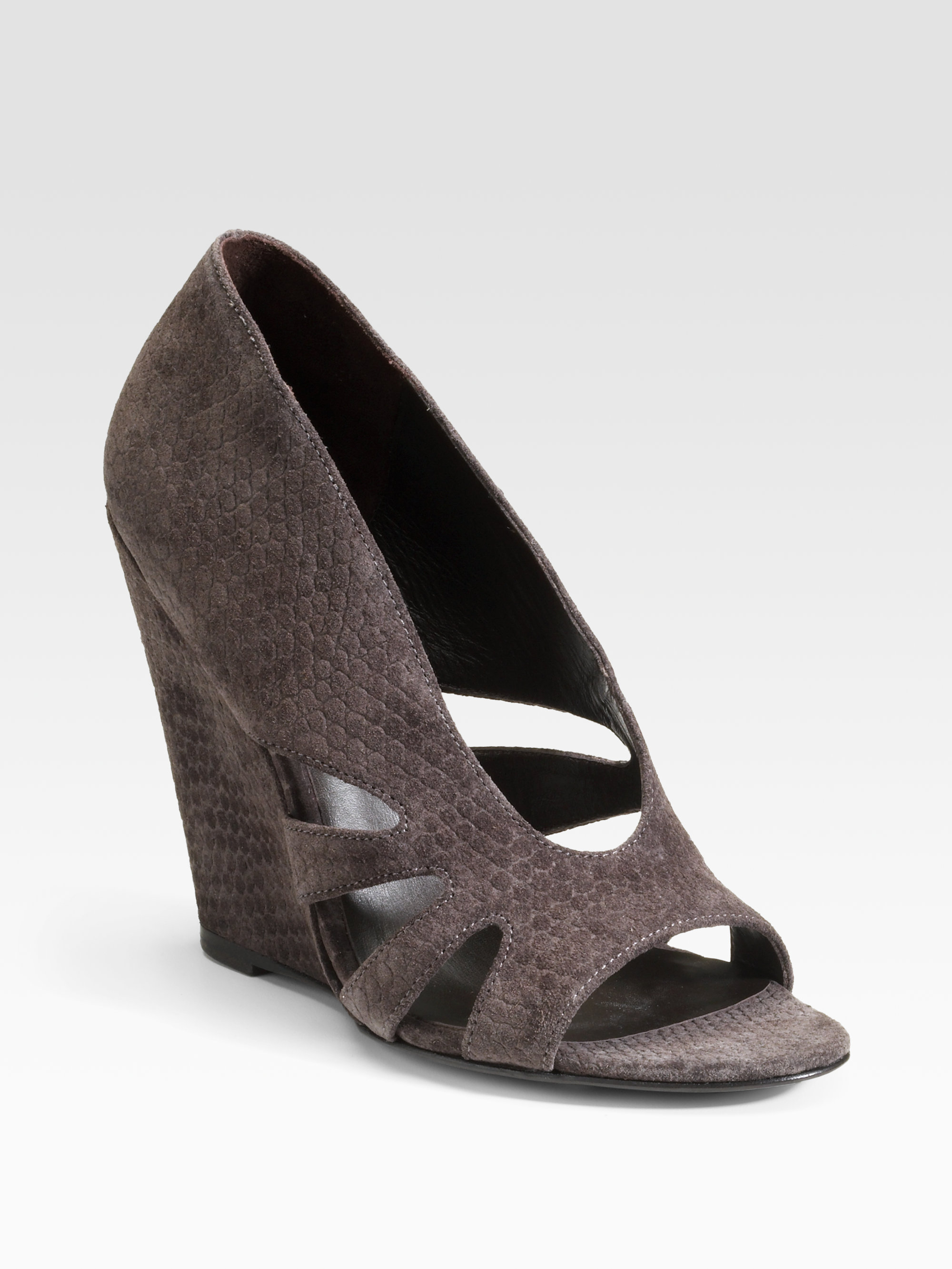 elizabeth and suede peeptoe wedge sandals in gray